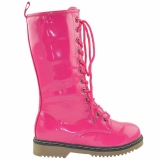 Lace Up pink combat boots