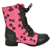 Pink combat boots women