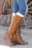 Low Wedge Tall Boots In Brown
