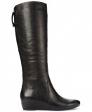 Tall Black Leather Wedge Boots