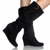 Tall Buckled Wedge Boots