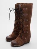 Tall Wedge Boots Brown