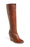 Tan Tall Boots Wedge Heel