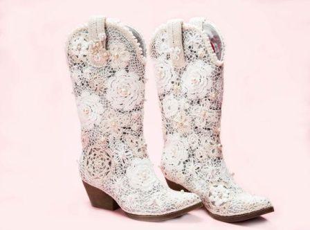 Beige Wedding Cow Boots
