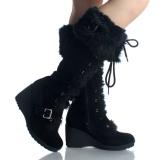 Black Wedge Snow boots Mid Calf