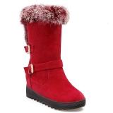 Red Hidden Wedge Snow Boots