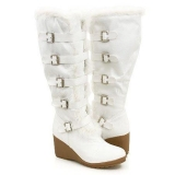 White Wedge Snow Boots