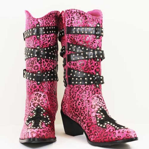 Pink Cowgirl Boots with Rhinestones