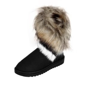 Black Flat Ankle Boots with Fur for Winters