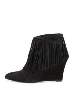 Black Suede Fringe Wedge Boots