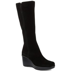 Black Tall Wedge Boot