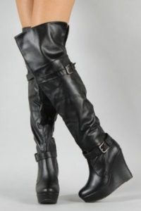 Black Wedge Slouch Boots