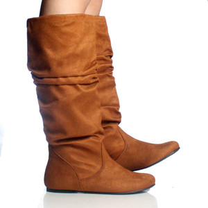 Brown Slouch Boots Flat