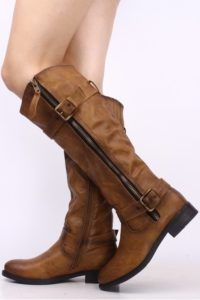 Brown Slouch Wedge Boots