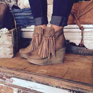 Fringe Boots Wedge Heel Ankle