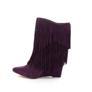 Fringe Wedge Calf Boots in Purple
