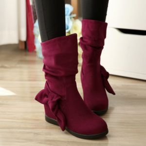 Ladies Slouch Wedge Boots