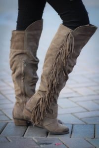 Over the Knee Fringe Wedge Boots