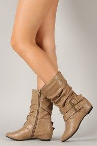 Slouchy Buckle Wedge Boots