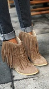 Suede Fringe Wedge Boots