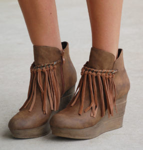 Wedge Boots With Fringe