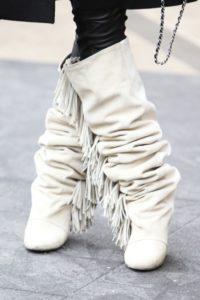 White Fringe Wedge Boots