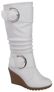 White Slouch Wedge Boots