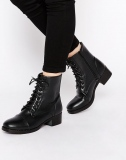 Black Lace Up Ankle Boots Flat