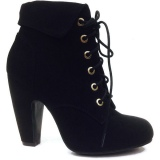 Black Lace Up Ankle Boots with low heel
