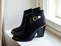 Buckle Black Ankle Boots Low Heel Women