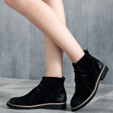 Casual Round Toe Black Ankle Boots