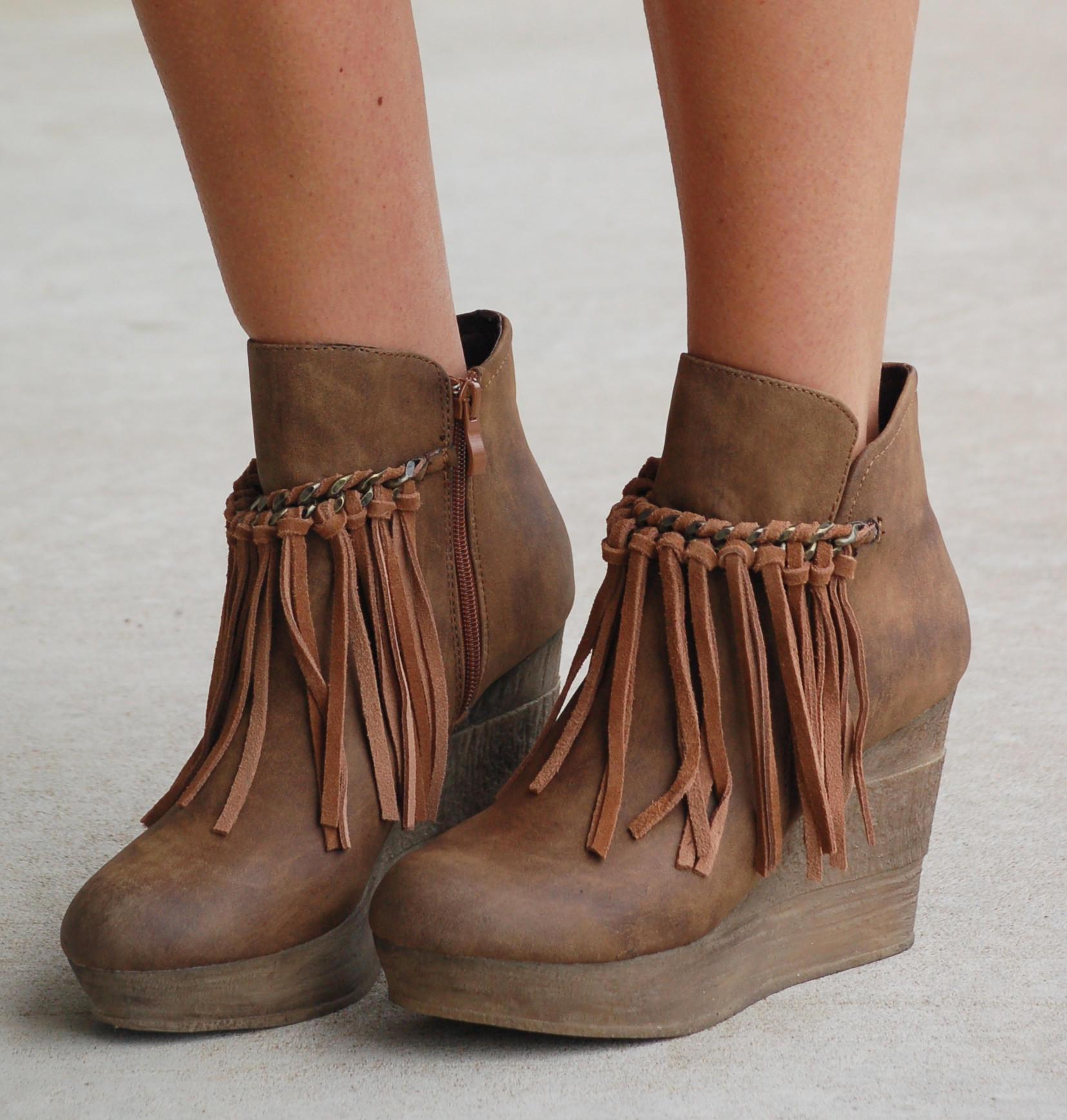 ff0af8b09b2 Wedge Boots With Fringe