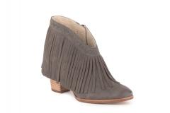 Leather Fringe Wedge Boots Grey