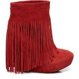 Red Fringe Boots With Wedge Heel
