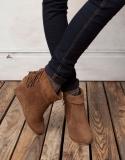 Short Fringe Wedge Boots