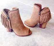 Tan Fringe Wedge Ankle Boots
