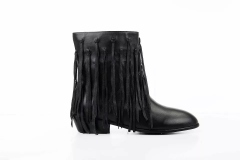 Black Flat Ankle Boots with Fringe