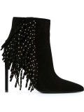 Black Fringed Ankle Boots with Heels
