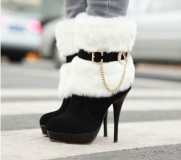 Black Boots with White Fur