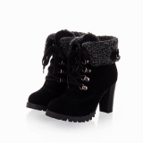 Black Fur Ankle Boots