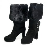 Black Fur Boots with Heels