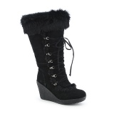 Black Wedge Fur Boot