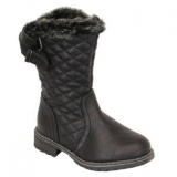 Girls Black Fur Boot