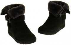 Ladies Black Fur Ankle Boots