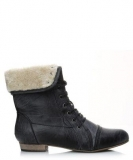 Black Boot with Fur Trim