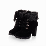 Black Fur Ankle Boots