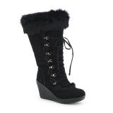 Black Wedge Fur Boot