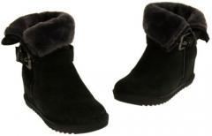 Ladies Black Fur Ankle Boots