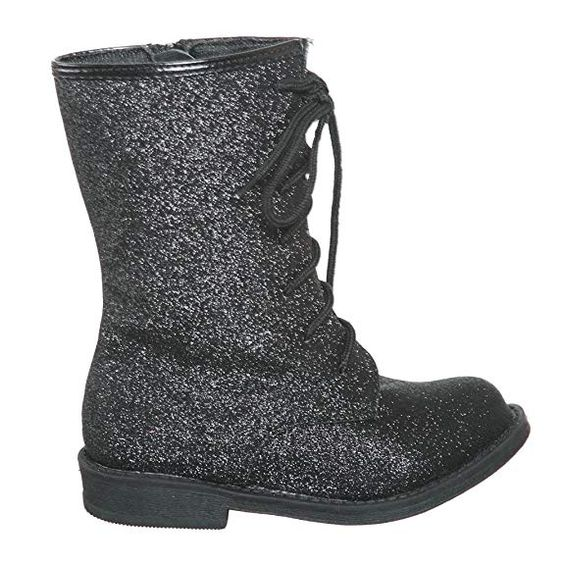 Black Glitter Combat Boots