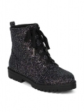 Black Combat Boots with Glitter